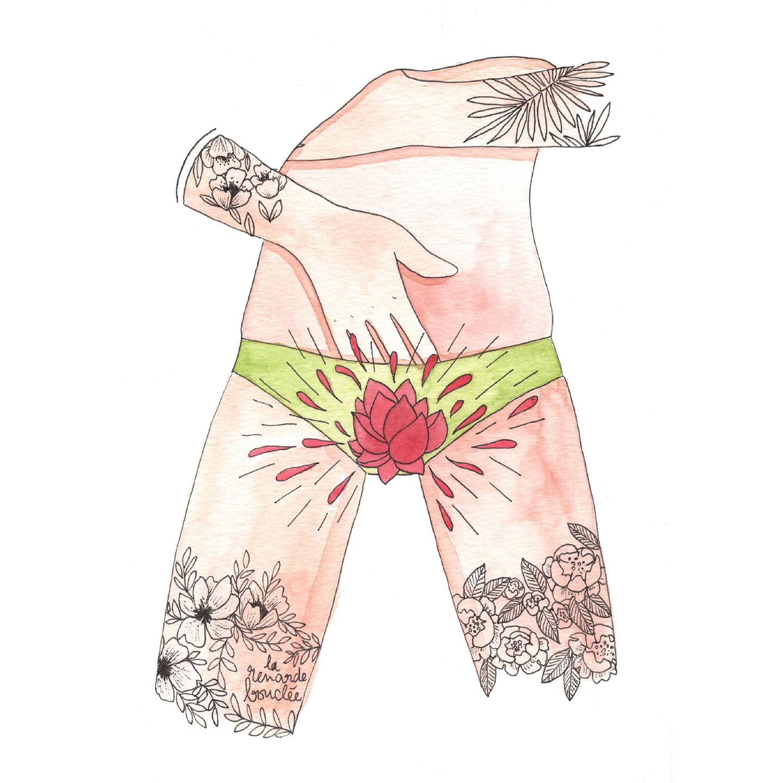 Théa Lime, Fleur intérieure, 2020, watercolor